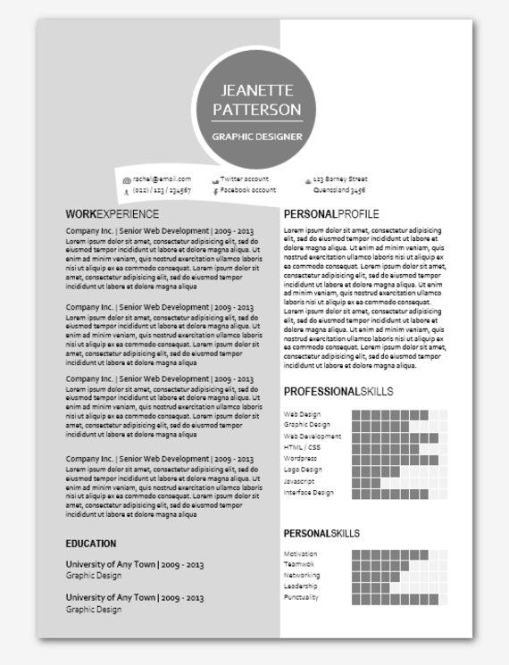 Modern Microsoft Word Resume Template Jeanette by Inkpower, $1200