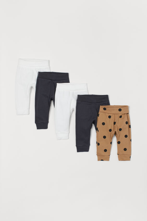 Photo of 5-pack Cotton Pants – Dark beige/dotted – Kids | H&M US
