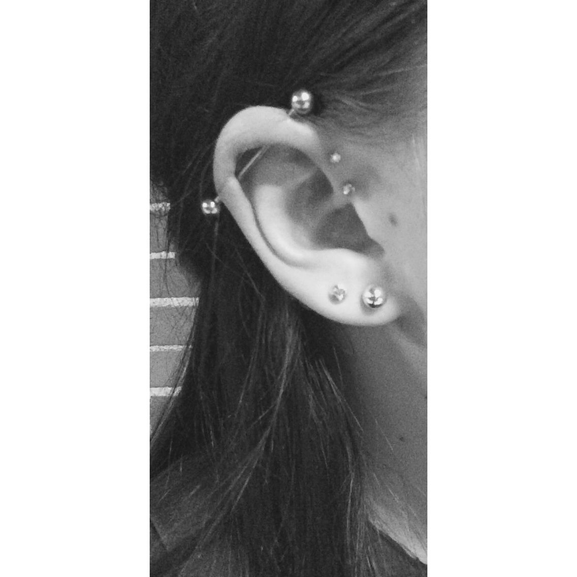 Industrial Piercing With Double Forward Helix Earings Piercings Double Forward Helix Piercing