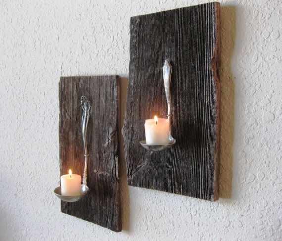 Barnwood Wall Art reclaimed barn wood salvaged antique metal ladle candle holder