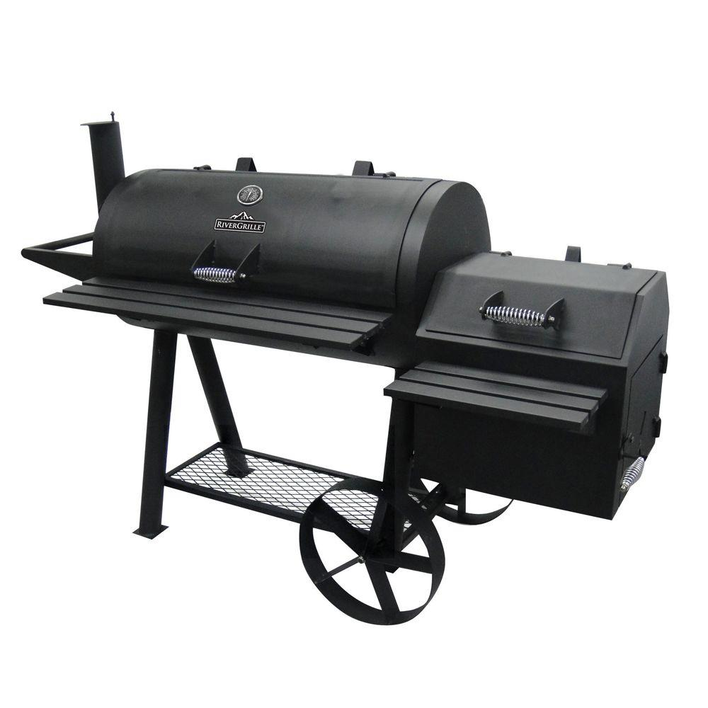 Rivergrille Farmer S Charcoal Grill And Off Set Smoker Gr1008