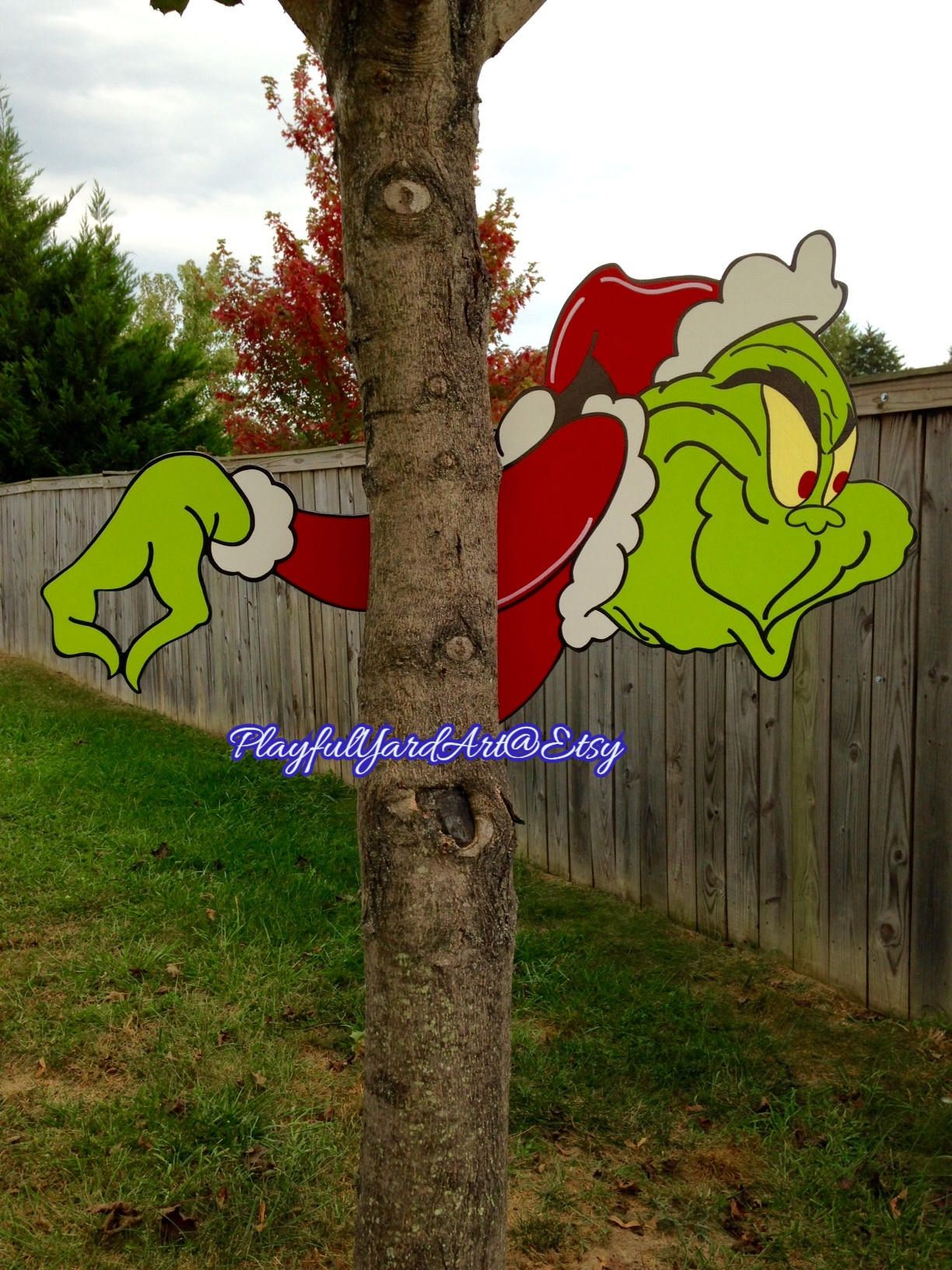 Hello Welcome To My Store Grinch Yard Art Tree Peeker