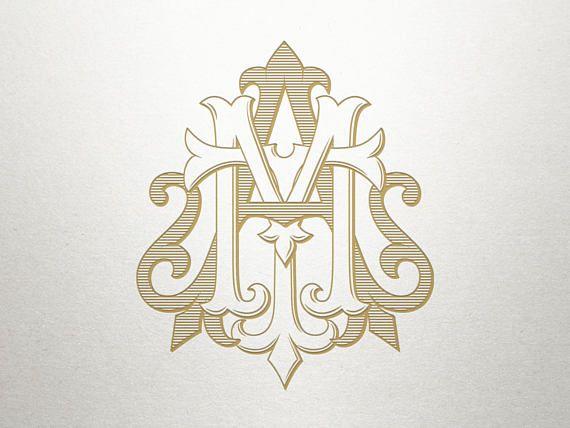 3 letter monogram for wedding monogram wedding logo design vintage monogram