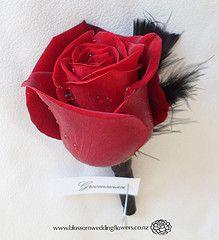 red wedding flower, boutonniere