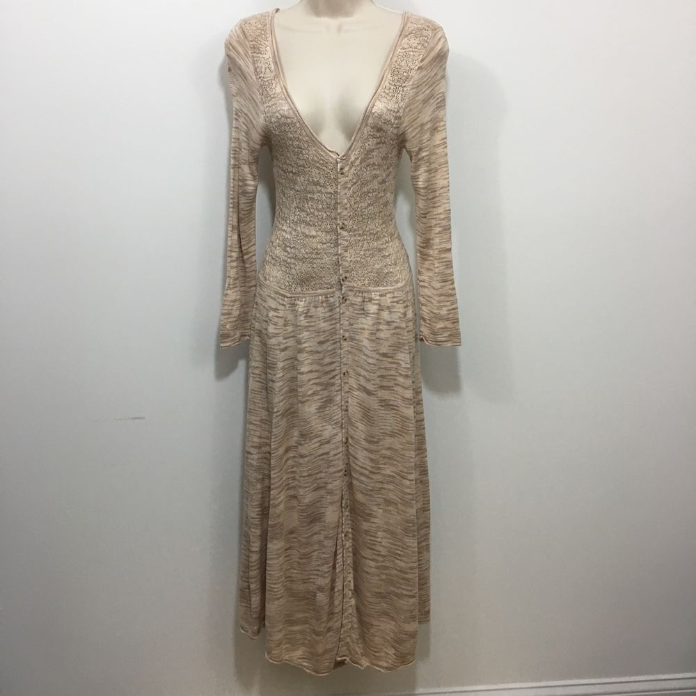 Free People Long Sleeve Crochet Sweater Dress Button Front Medium Tan Ebay Sweater Dress Dresses Crochet Sweater Dress [ 1000 x 1000 Pixel ]