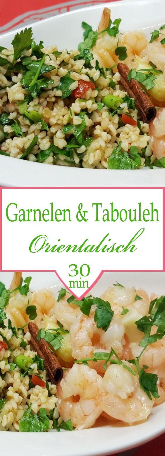 Orientalische Garnelen mit Tabouleh