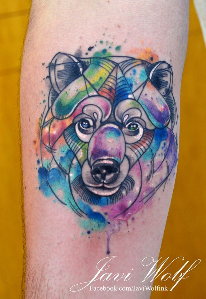 Watercolor bear. Tattooed by Javi Wolf For great tattoos ... Watercolor Bear Tattoo