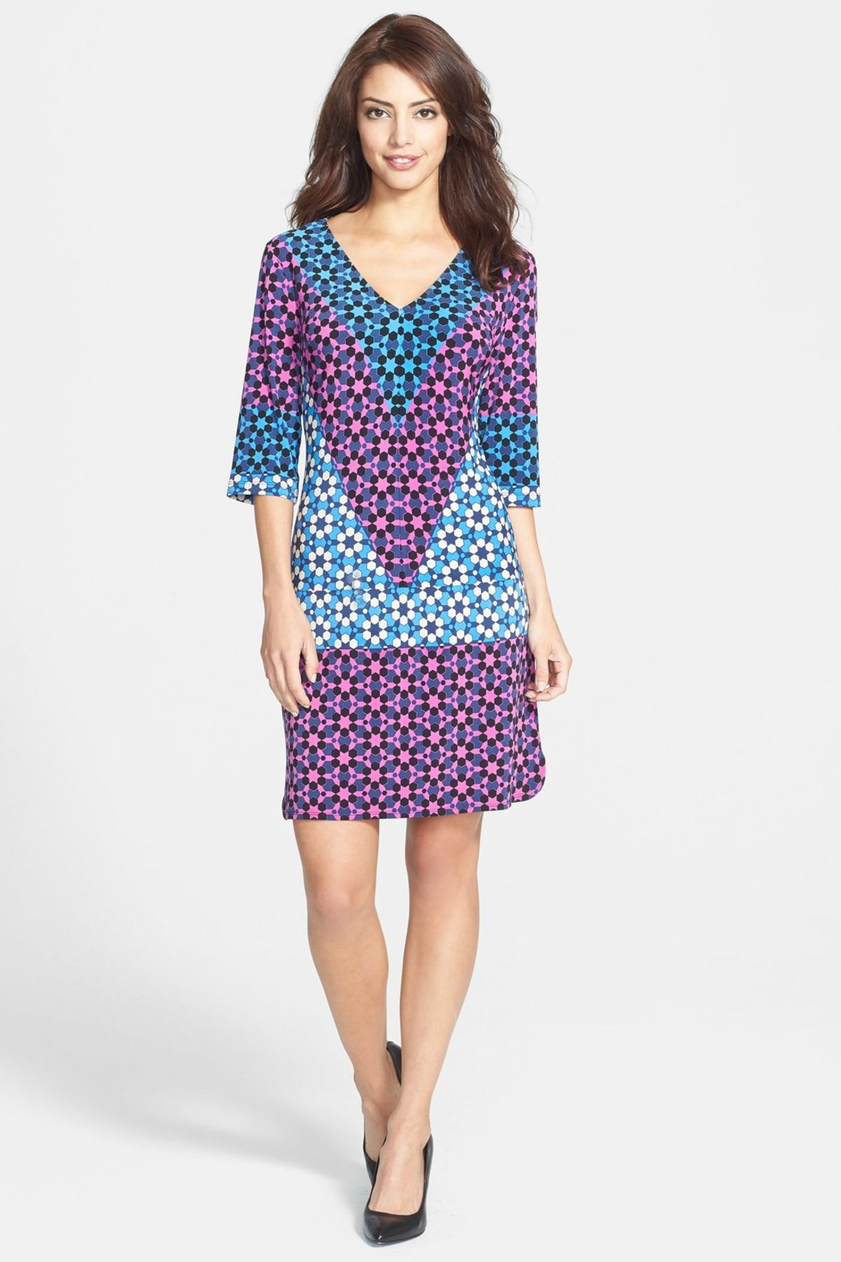 Abstract Printed V-Neck Shift Dress | Ropa