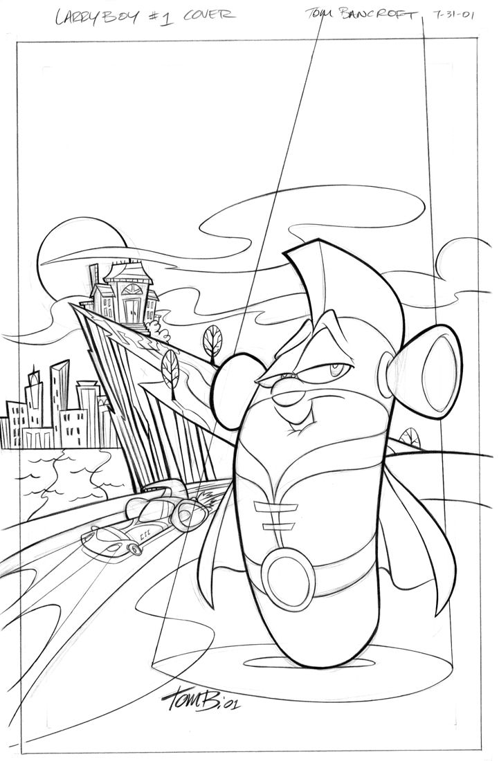 Larryboy Comic Cover By Tombancroft With Images Coloring Pages