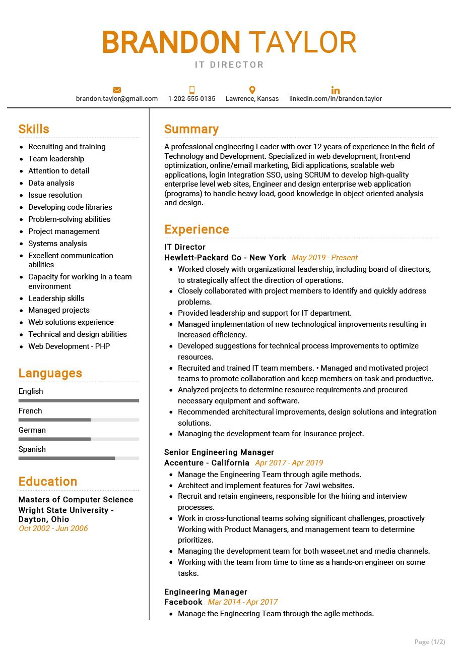 IT Director Resume Example in 2020 Resume examples