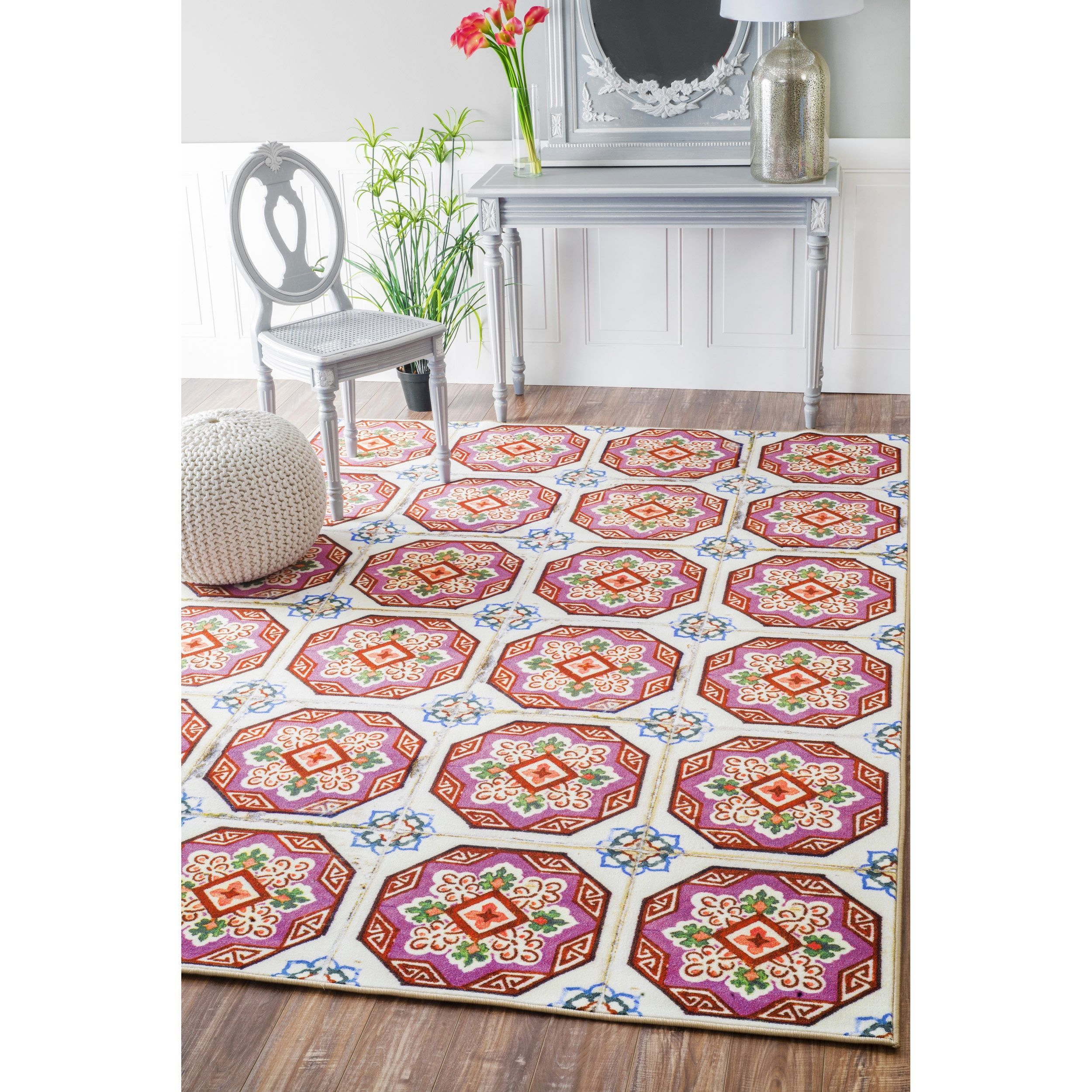 nuloom geometric fancy spanish tiles pink rug (' x ') (blue  - nuloom geometric fancy spanish tiles pink rug (' x ') (blue) size ' x' (synthetic fiber abstract)