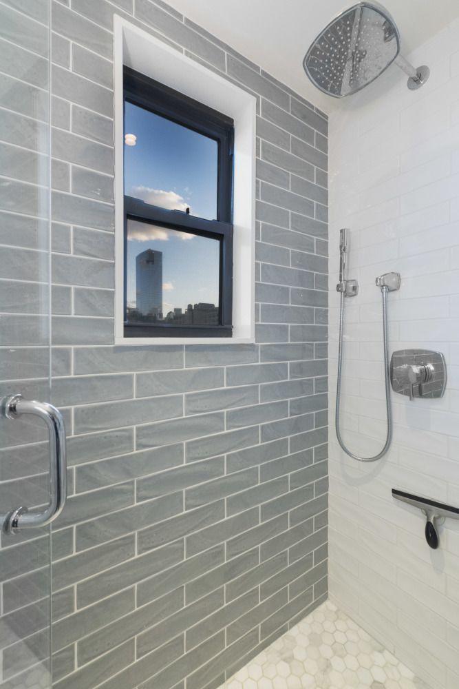 180 West Houston Street Gray subway tiles, Contemporary bathrooms