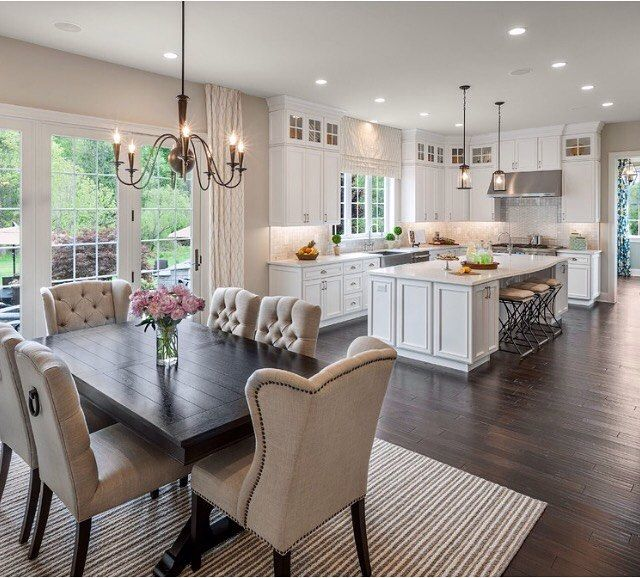 #kitchen #diningroom #hardwoodfloors #chandelier #rug #tufted #tuftedchair  #frenchdoors #backsplashu2026u201d