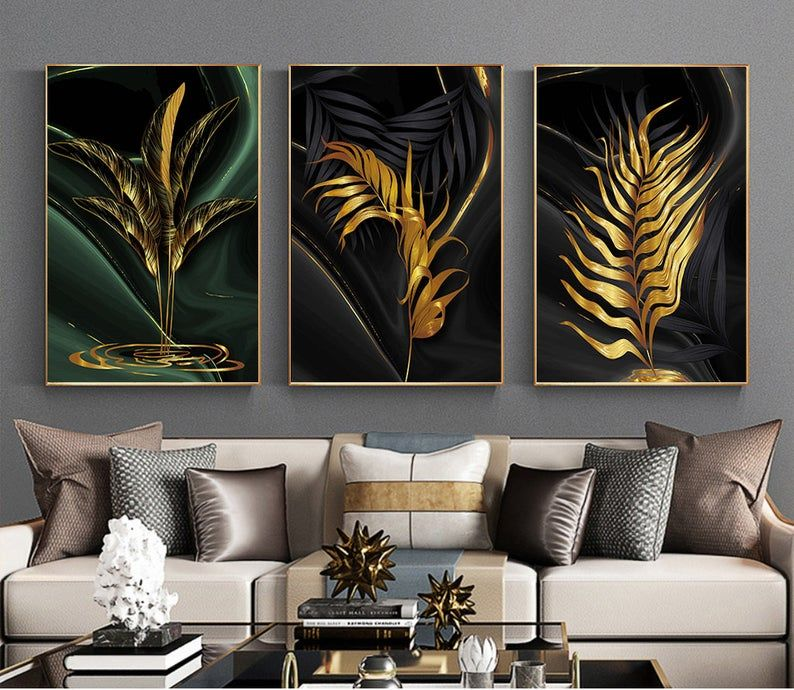 Luxury Black Gold Leaves Painting Wall Art Printable Modern Art Posters And Prints Abstract Black Living Room Pictures Unique Decoration In 2021 Wall Painting Living Room Pictures Wall Art Pictures