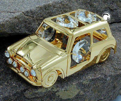 Auto mit Kristall-Glas, gold-plattiert, Räder beweglich