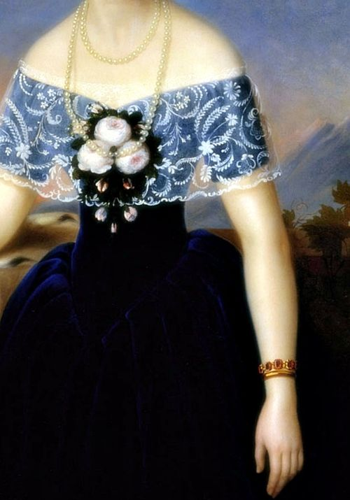 Portrait de femme en robe bleue (Détail) Yakovlev Gabriel Ivanovich 1852