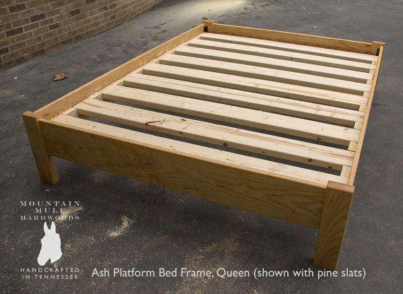 Oak Simple Bed Platform Frame Solid, Custom Made Queen Size Bed Frame