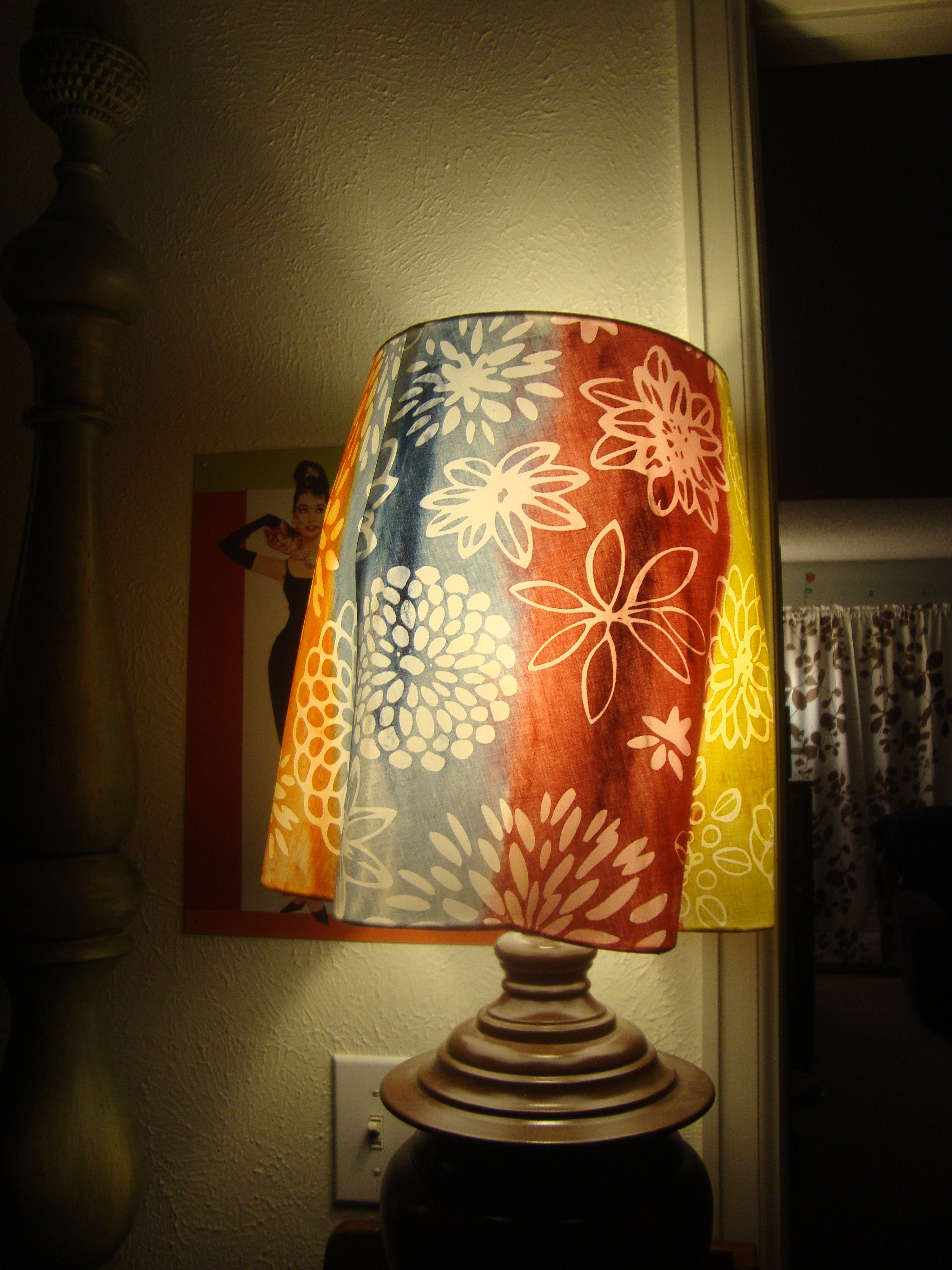 "Ikea (white) lampshade ""washed"" with acrylic paints (taken ..."
