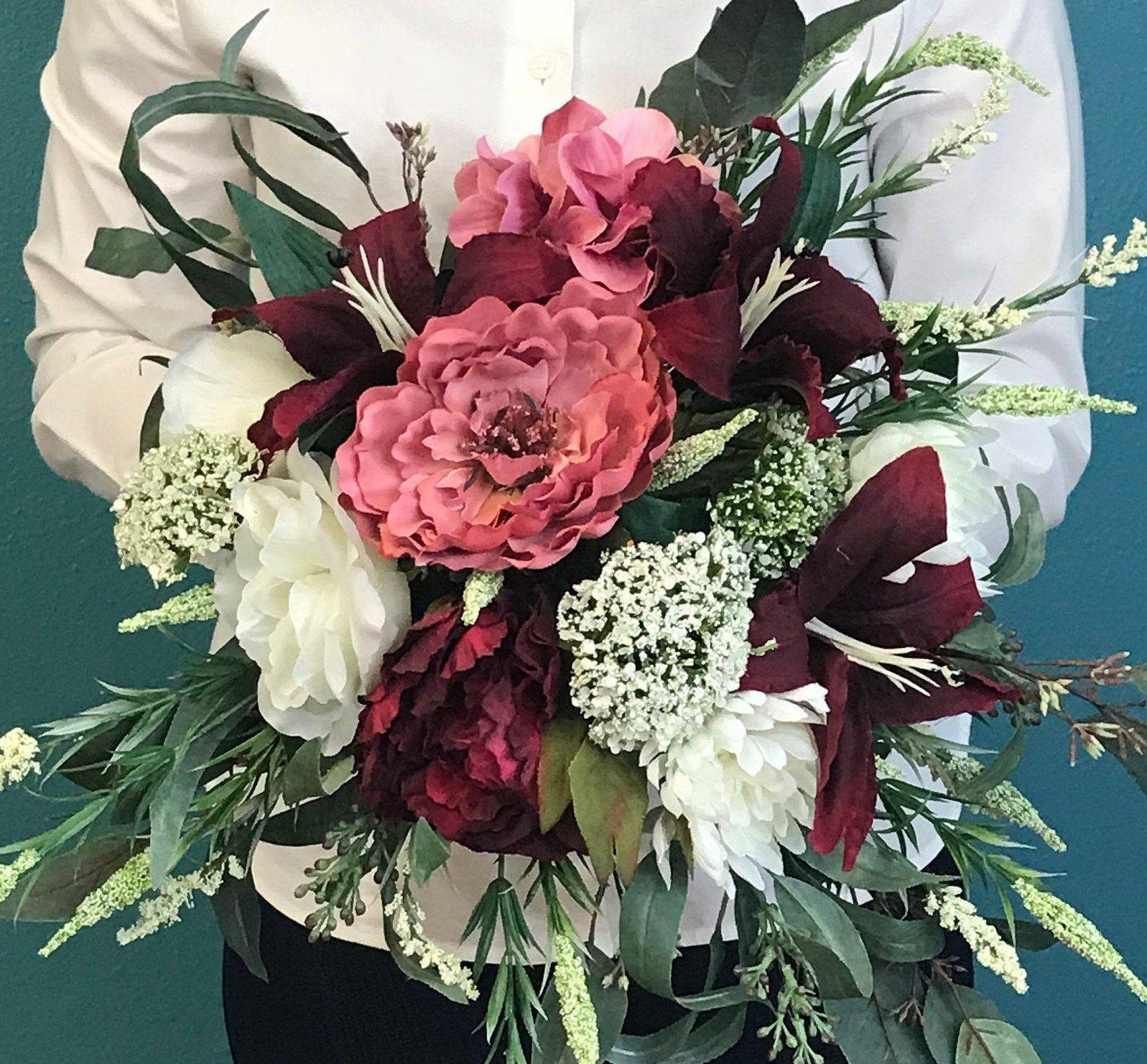 Boho Chic Burgundy Mauve And Cream Cascading Silk Bouquet Burgundy Bridal Bouquet Burgundy Wedding Bouquet Ivory Peony Bouquet Wedding Bouquets Bridal Bouquet