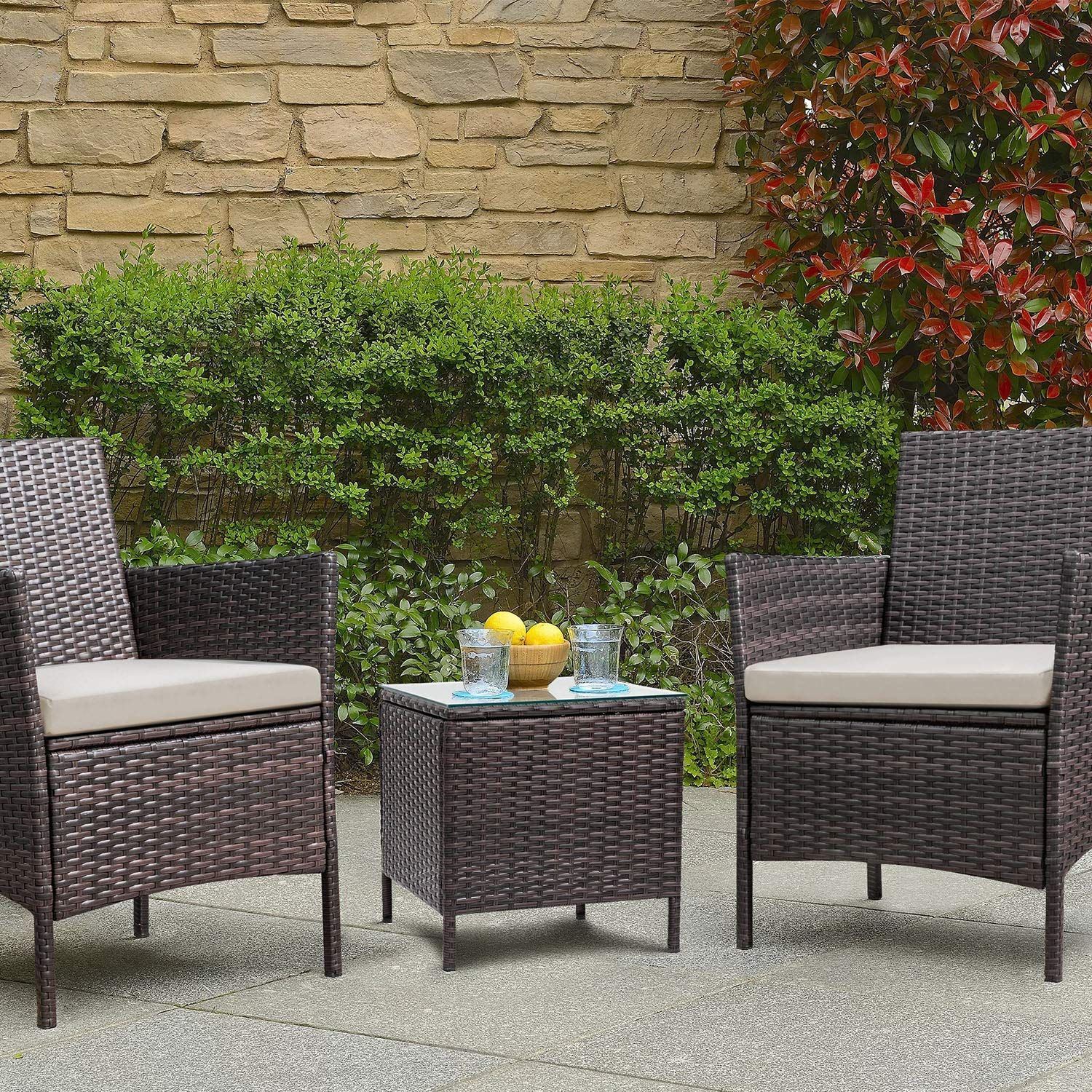 Patio Porch Furniture Set 3 Piece Pe Rattan Wicker Chairs Beige Cushion With Table Useful Tools Store Wicker Patio Furniture Set Porch Furniture Sets Garden Furniture Sets