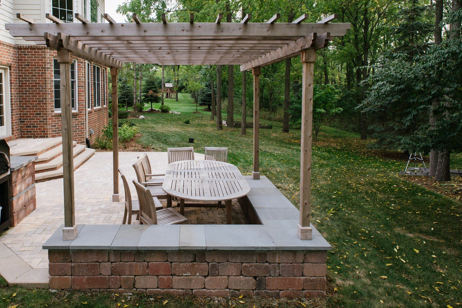 Amazing Ann Arbor Patio And Garden From Knotty Alder Wood Lumber With A Set  Of Outdoor Teak Wooden Dining Furniture Also Faux Brick Wall Panels Home  Depot ...