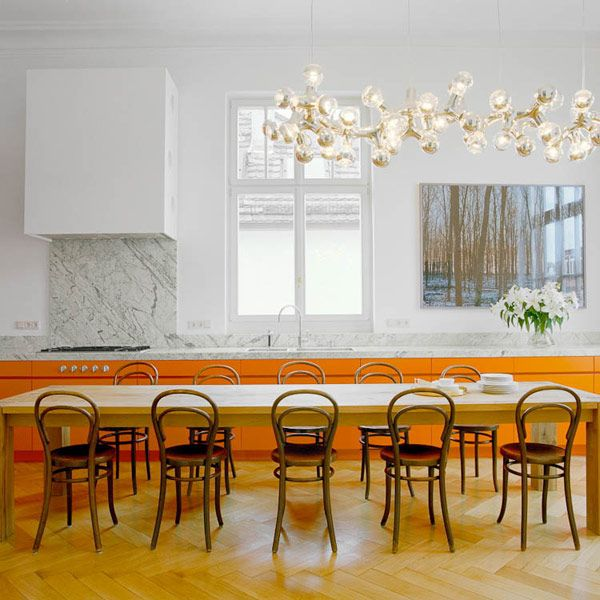 "PLASTOLUX ""keep it modern"" » G4 Agency - Johan Lenaerts refectory table chairs feature pendant orange units"