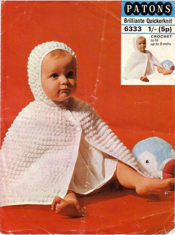 Vintage PDF Baby Crochet Pattern - Patons 6333 - hooded cape Instant ...