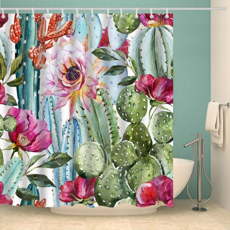 Boho Watercolor Cactus Seamless Shower Curtain Bathroom Decor In
