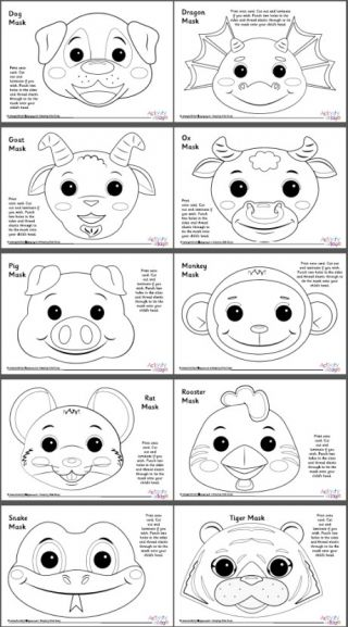 Chinese Zodiac Animal Masks Set 2 Black And White Chinese New Year Crafts Chinese New Year Crafts For Kids New Year Coloring Pages