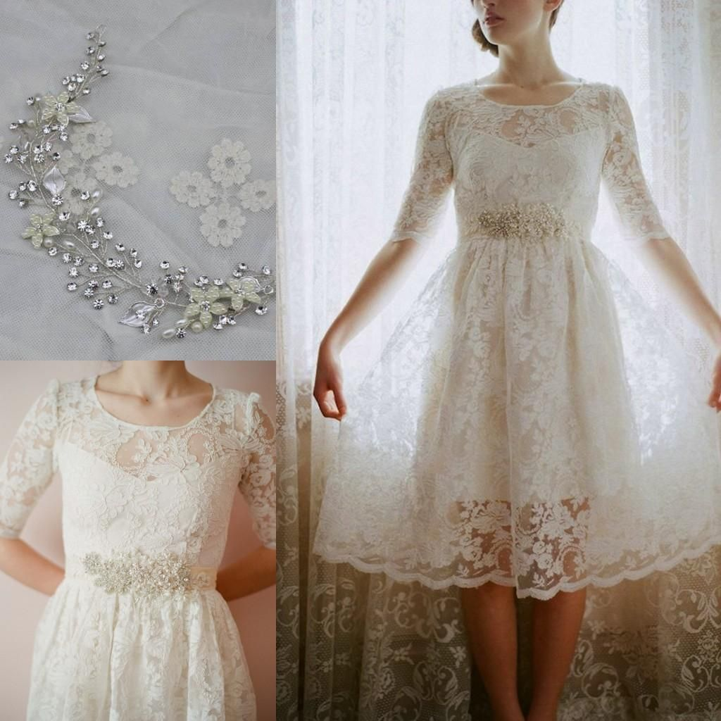 2015 Short Beach Wedding Dresses For Boho Chic Bohemian Garden Country Brides Cheap Hot Sale Sheer Crew Neck Knee Length Pearls Lace Gowns 3234 Dhgate: Short Wedding Dress Boho Chic At Websimilar.org