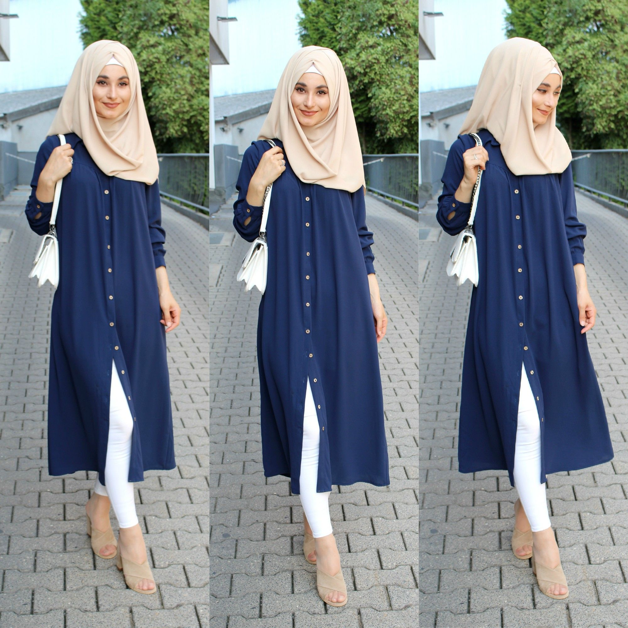 blue long tunic hijab  Muslim fashion dress, Muslim fashion