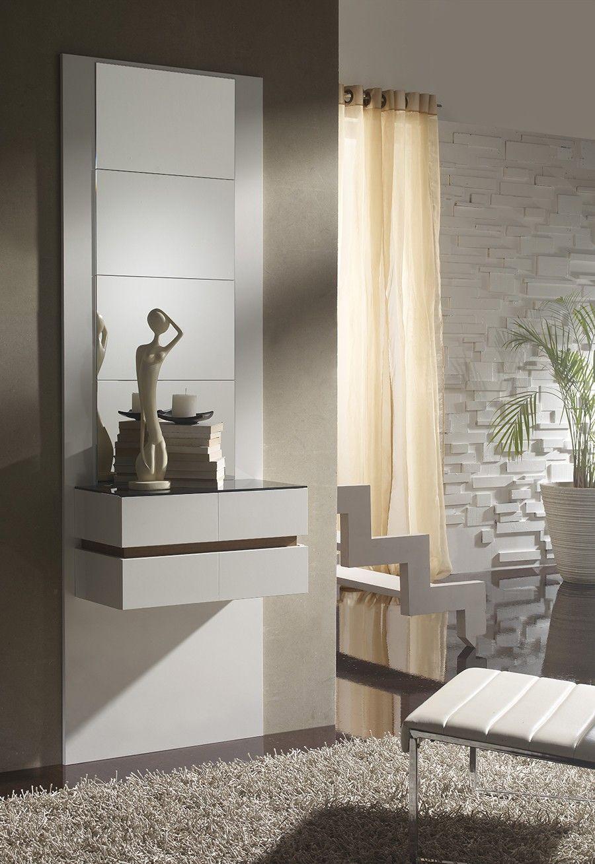 Meuble d\'entrée moderne + miroirs OSLONE, coloris blanc et noyer ...
