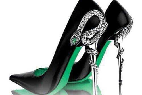 d2ede7d0c45 Black High Heel shoes with snake wrapped around heel   green soles ...