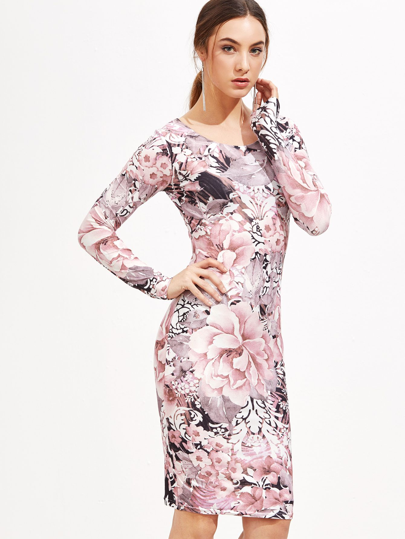 Floral Print Pencil Dress — 0.00 € ------------------------------color: Multicolor size: L,S,XL
