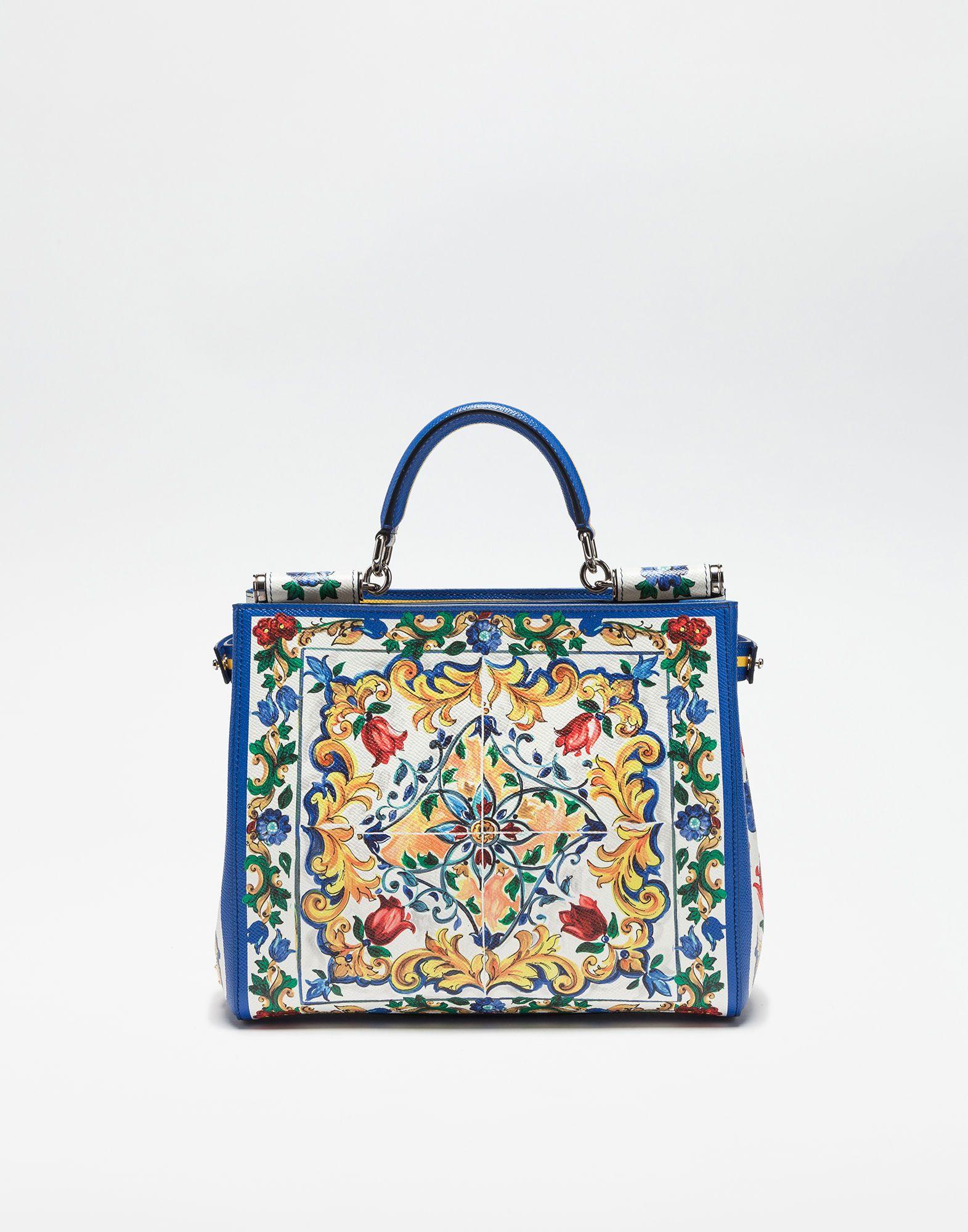26a915c96603 Dolce Gabbana  PRINTED DAUPHINE LEATHER SICILY SHOPPER
