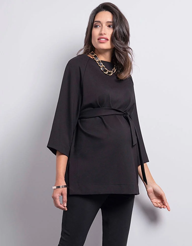 Black Ponte Maternity Top