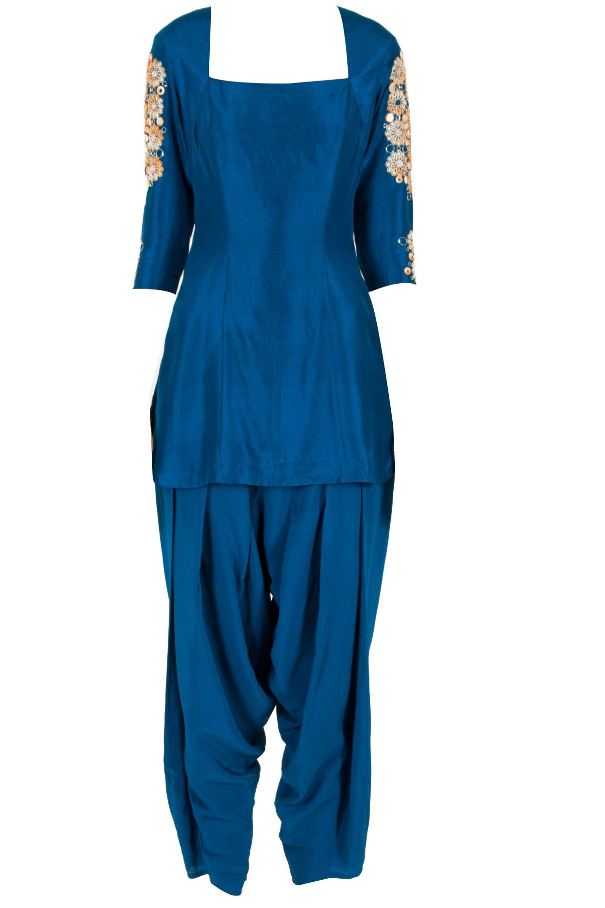 Blue embellished kurta with salwar available only at Pernia's Pop-Up Shop.