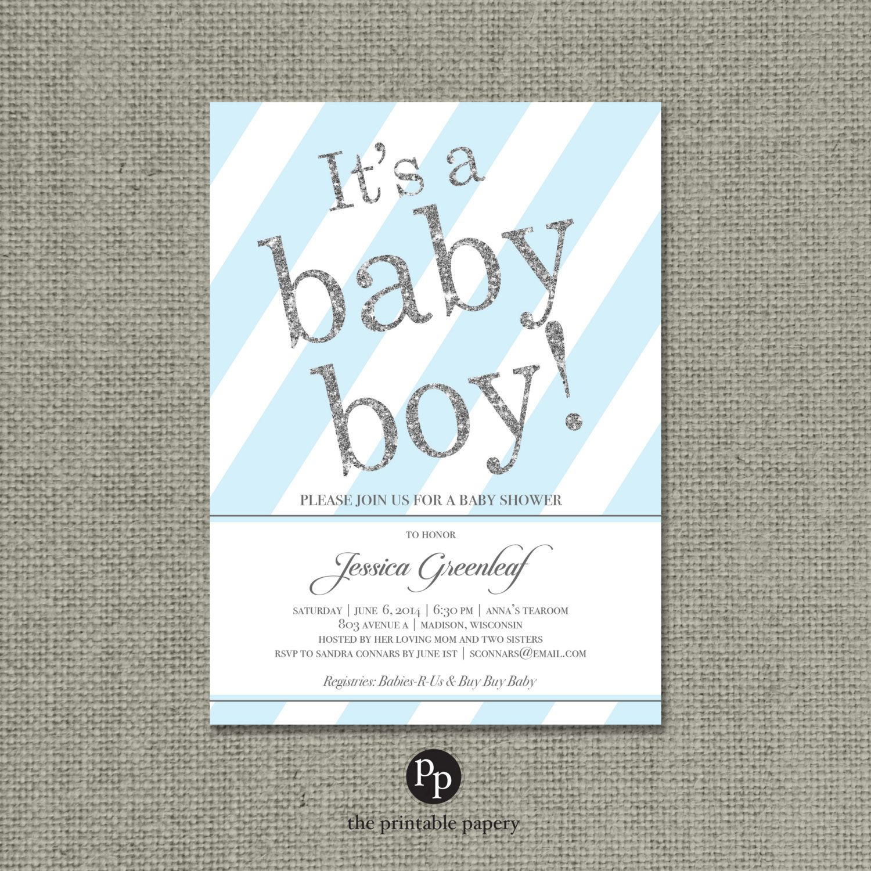 Printable Blue & Silver Glitter Baby Shower Invitation Card -