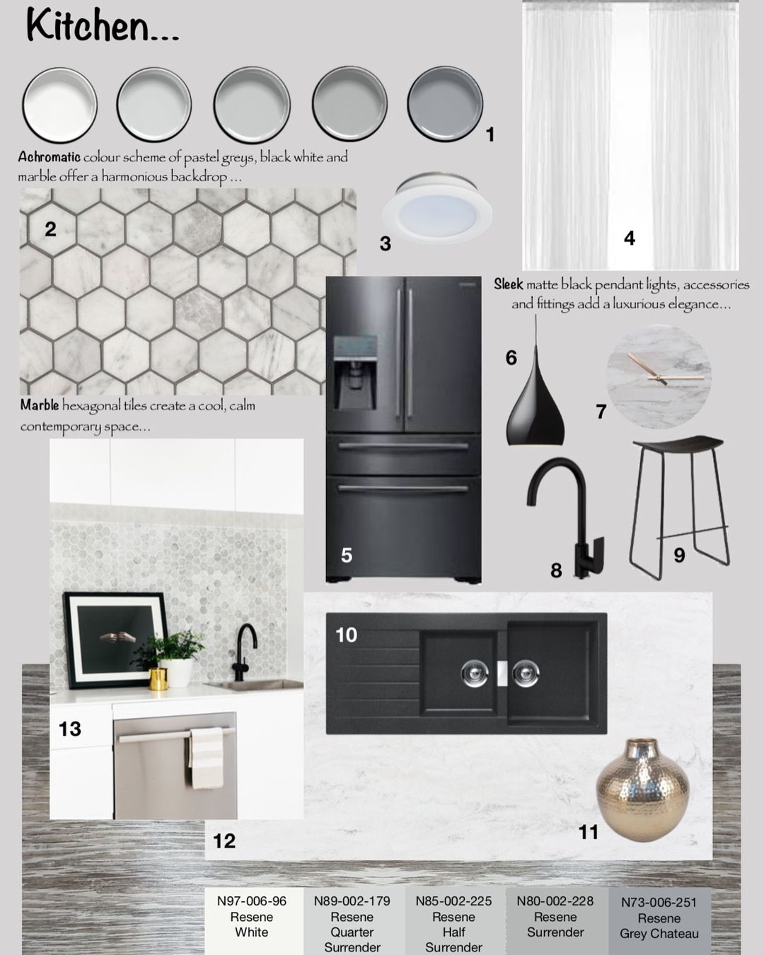 Sample Boards Using An Achromatic Palette With Gold Accents