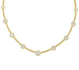Judith Ripka Sterling & 14K Clad 16.05ct Diamonique 100 Facet Necklace