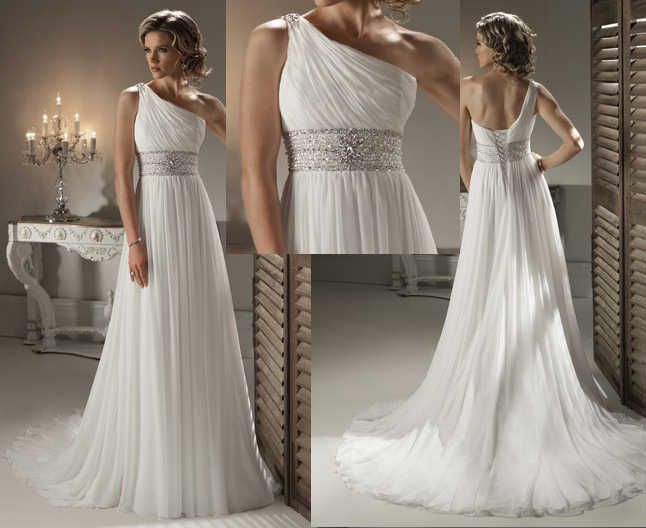 Shruthi In A Dreamy One Shoulder Pronovias Dress: Simple One Shoulder Greek Style Wedding Dress