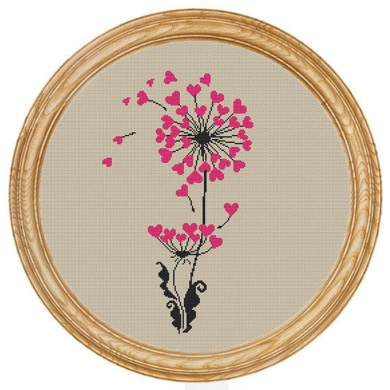 Cross Stitch Pattern PDF dandelion hearts di HappyStitches4You