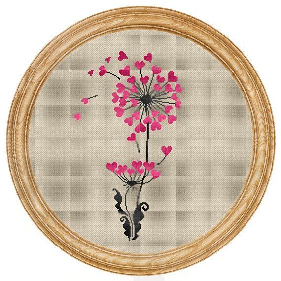 Cross Stitch Pattern PDF dandelion hearts di HappyStitches4You