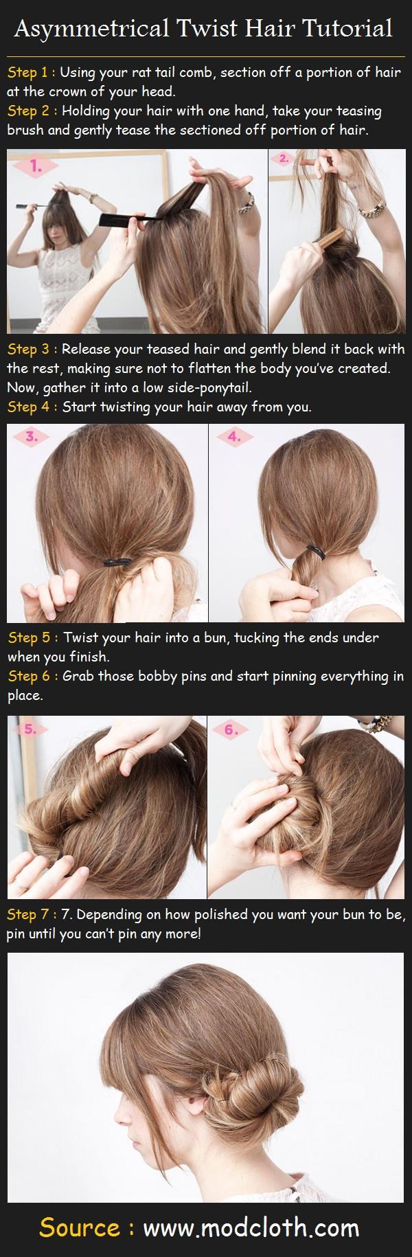 Beauty Tutorials: Asymmetrical Twist Hair Tutorial