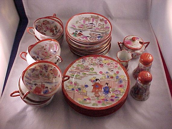 30 Piece Hand Painted Japan Porcelain Coffee by PapasGoodOleDays, $38.00