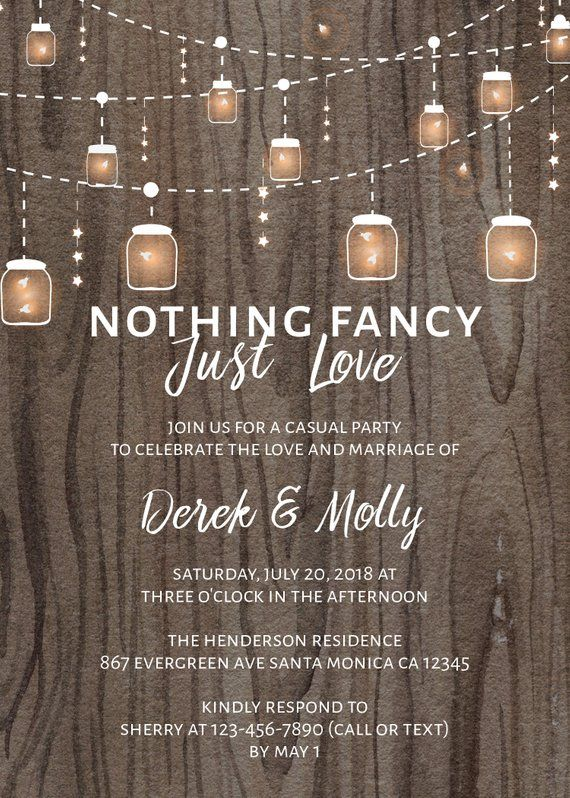 Rustic Wedding Reception Invitations, Casual Elopement Party Cards, Nothing Fancy Just Love #40