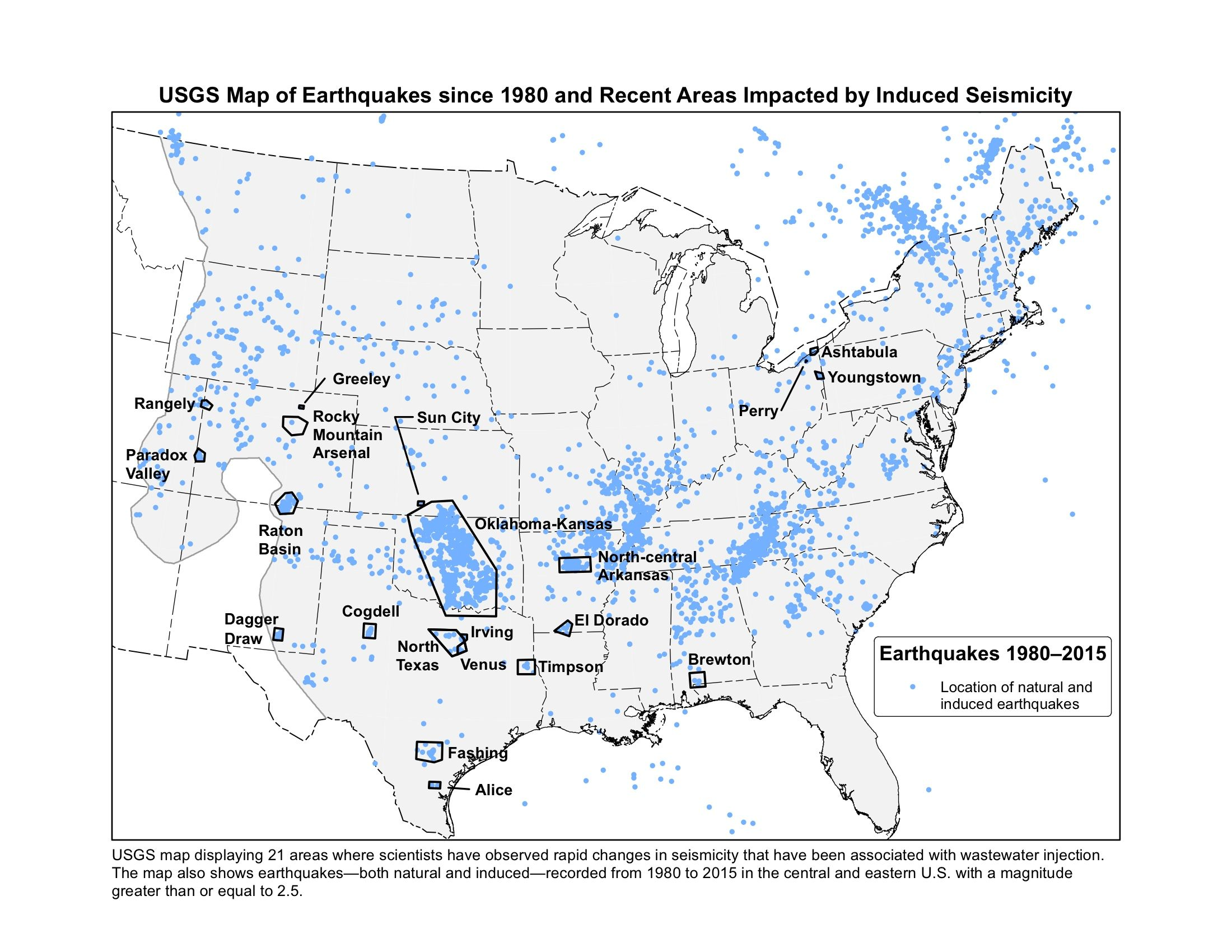 USGS map displaying 21 areas where scientists have observed rapid