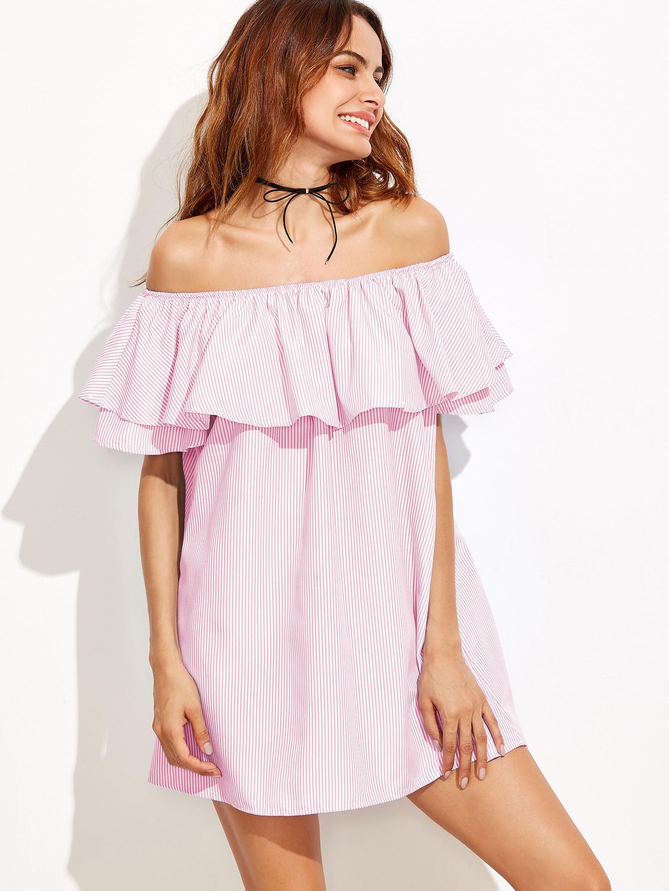 Haz Clic Para Ver Los Detalles Envíos Gratis A Toda España Flounce Off Shoulder Striped Dress Pink Cute Y Vacation Cotton The