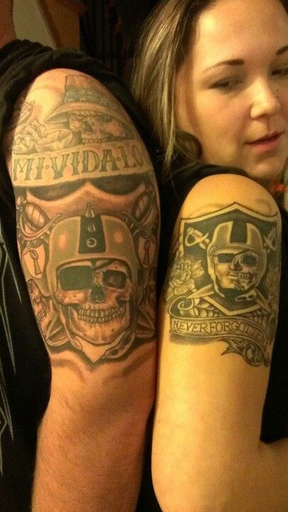 His and hers Raiders tattoo's