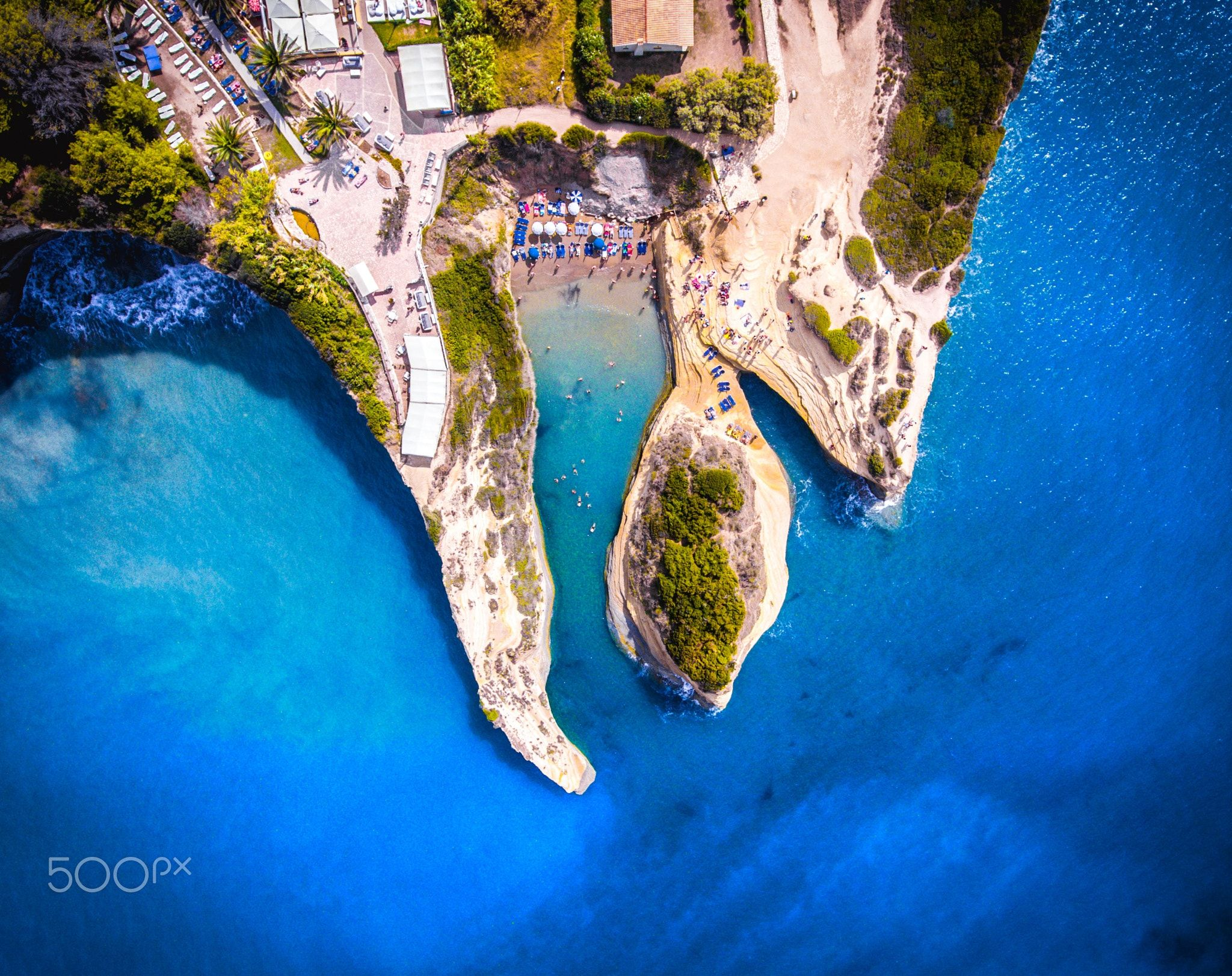 Canal D'amour, Corfu, Greece - Canal D'amour beach at Cape Sidari is the best known landmark of Corfu Island. Aerial view from a DJI Phantom 4 drone.